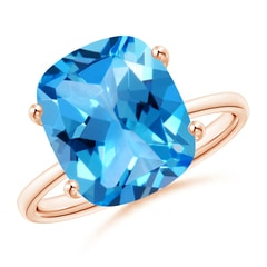Prong-Set Cushion Swiss Blue Topaz Cocktail Ring