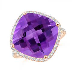 Cushion Amethyst Halo Ring with Clover Motif