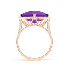 Toggle Cushion Amethyst Halo Ring with Clover Motif