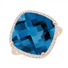 Cushion London Blue Topaz Halo Ring with Clover Motif
