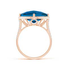 Toggle Cushion London Blue Topaz Halo Ring with Clover Motif