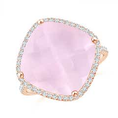 Cushion Rose Quartz Halo Ring with Clover Motif