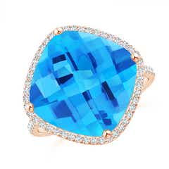 Cushion Swiss Blue Topaz Halo Ring with Clover Motif