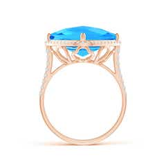 Toggle Cushion Swiss Blue Topaz Halo Ring with Clover Motif