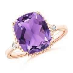 Cushion Amethyst Beaded Halo Ring with Diamond Accents