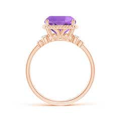 Toggle Cushion Amethyst Beaded Halo Ring with Diamond Accents