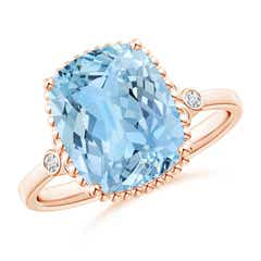 Cushion Aquamarine Beaded Halo Ring with Diamond Accents