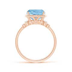 Toggle Cushion Aquamarine Beaded Halo Ring with Diamond Accents