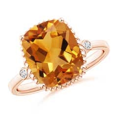 Cushion Citrine Beaded Halo Ring with Diamond Accents
