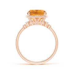 Toggle Cushion Citrine Beaded Halo Ring with Diamond Accents