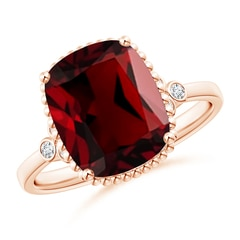 Cushion Garnet Beaded Halo Ring with Diamond Accents
