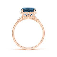Toggle Cushion London Blue Topaz Beaded Halo Ring with Diamonds