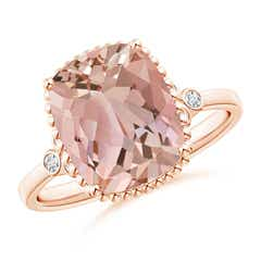 Cushion Morganite Beaded Halo Ring with Diamond Accents