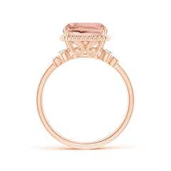 Toggle Cushion Morganite Beaded Halo Ring with Diamond Accents