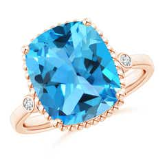 Cushion Swiss Blue Topaz Beaded Halo Ring with Diamonds
