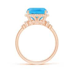 Toggle Cushion Swiss Blue Topaz Beaded Halo Ring with Diamonds