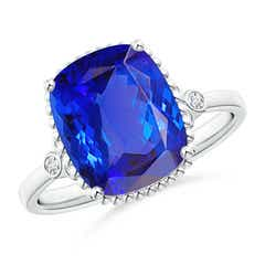 Cushion Tanzanite Beaded Halo Ring with Diamond Accents