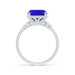 Toggle Cushion Tanzanite Beaded Halo Ring with Diamond Accents
