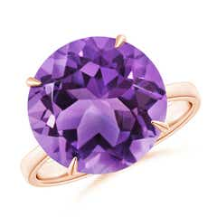 Claw-Set Round Amethyst Cocktail Ring