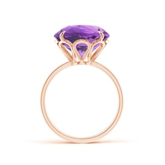 Toggle Claw-Set Round Amethyst Cocktail Ring