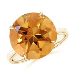 Claw-Set Round Citrine Cocktail Ring
