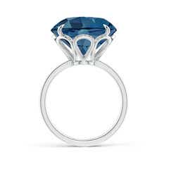Toggle Claw-Set Round London Blue Topaz Cocktail Ring