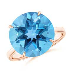 Claw-Set Round Swiss Blue Topaz Cocktail Ring