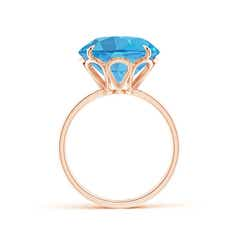 Toggle Claw-Set Round Swiss Blue Topaz Cocktail Ring