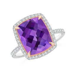 Cushion Amethyst and Diamond Halo Ring in Two Tone