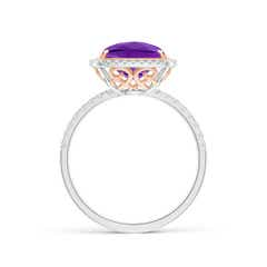 Toggle Cushion Amethyst and Diamond Halo Ring in Two Tone