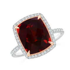 Cushion Garnet and Diamond Halo Ring in Two Tone
