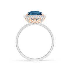 Toggle Cushion London Blue Topaz and Diamond Halo Ring in Two Tone
