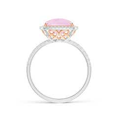Toggle Cushion Rose Quartz and Diamond Halo Ring in Two Tone