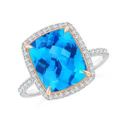 Cushion Swiss Blue Topaz and Diamond Halo Ring in Two Tone