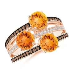 Round Citrine Three Stone Multi Row Ring