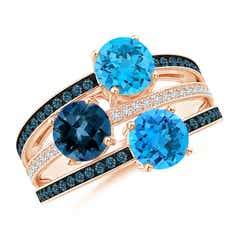 Round Swiss & London Blue Topaz Three Stone Multi Row Ring