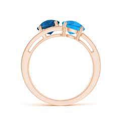 Toggle Round Swiss & London Blue Topaz Three Stone Multi Row Ring