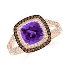 Cushion Amethyst Split Shank Ring with Double Halo
