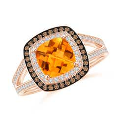 Cushion Citrine Split Shank Ring with Double Halo