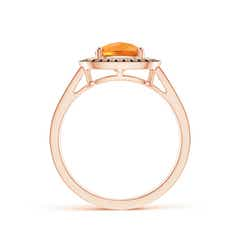 Toggle Cushion Citrine Split Shank Ring with Double Halo
