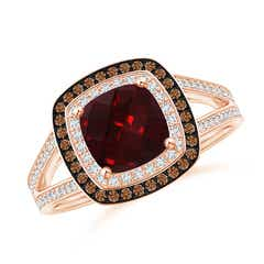 Cushion Garnet Split Shank Ring with Double Halo