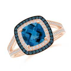 Cushion London Blue Topaz Split Shank Ring with Double Halo