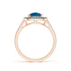 Toggle Cushion London Blue Topaz Split Shank Ring with Double Halo