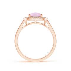 Toggle Cushion Rose Quartz Split Shank Ring with Double Halo