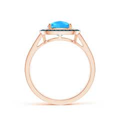 Toggle Cushion Swiss Blue Topaz Split Shank Ring with Double Halo