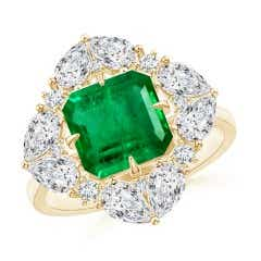 GIA Certified Emerald Cluster Halo Ring with Diamonds