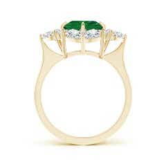 Toggle GIA Certified Emerald Cluster Halo Ring with Diamonds