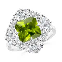 Peridot Cluster Halo Ring with Diamonds