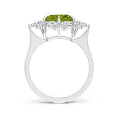 Toggle Peridot Cluster Halo Ring with Diamonds