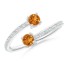 Classic Citrine Two Stone Bypass Ring with Diamond Accents